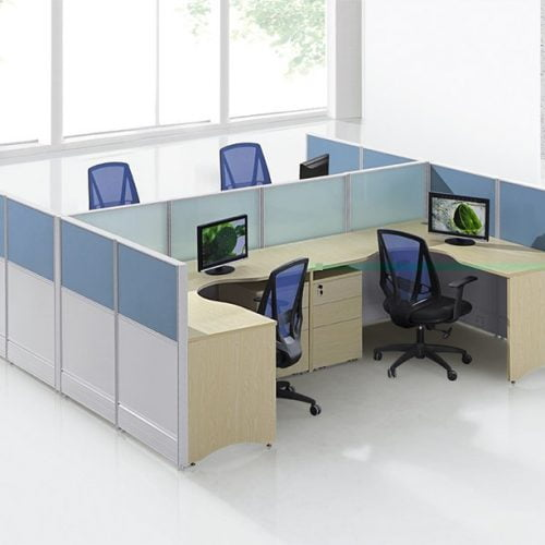 L-Shape staff desk for 4 person FHW 0012