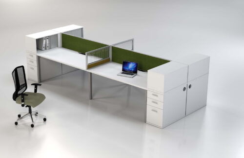 Plan b duster options with desk height pedestal and single tier top filer combo