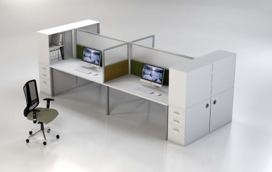 Planplan b straight duster options with desk height pedestal and two tier top filer combo