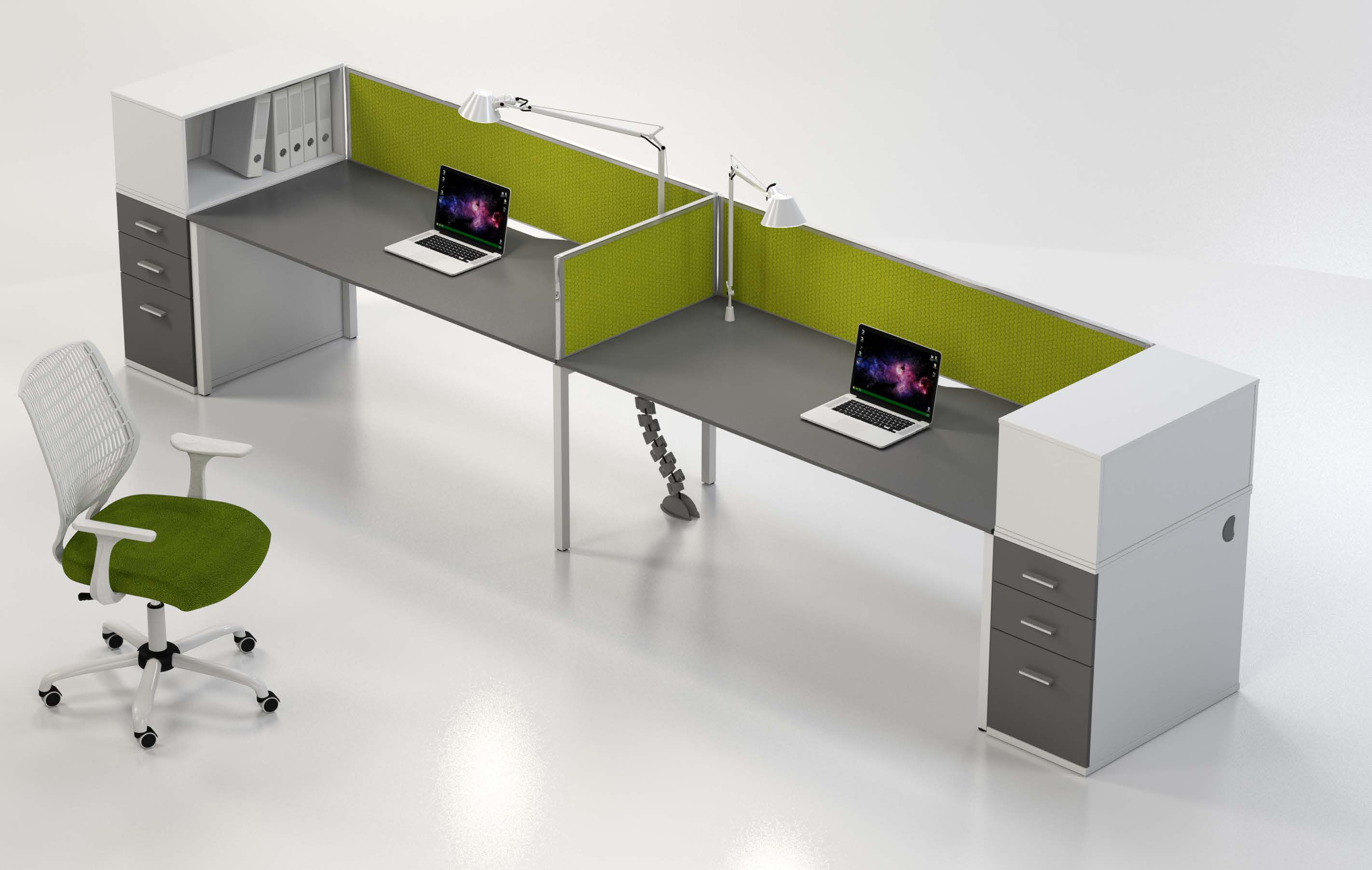 <h2>38<sup>2</sup> Benching System cluster options with desk height pedestal and single tier filer combo</h2>