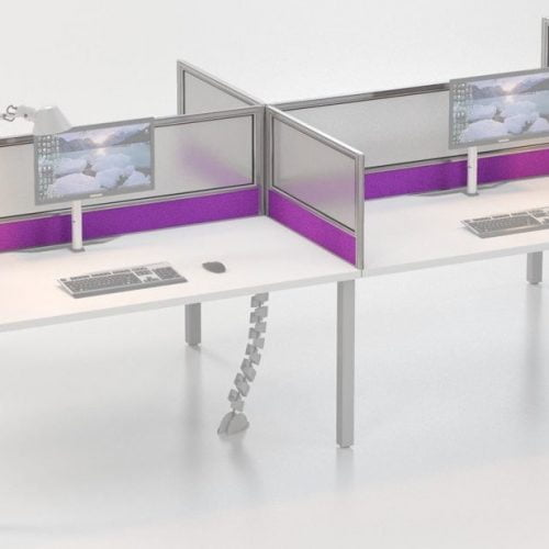 IS desk based screens with fabric/lexan combo